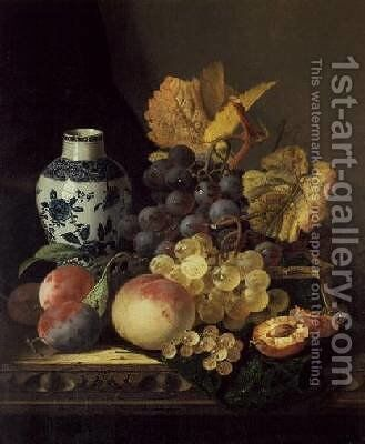 Grapes Peaches Plums and Currants with a Blue and White Vase by Edward Ladell - Reproduction Oil Painting