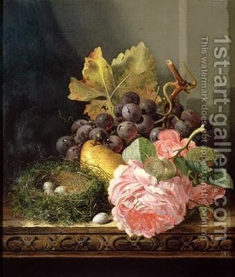 Still life roses fruit and birds nest by Edward Ladell - Reproduction Oil Painting
