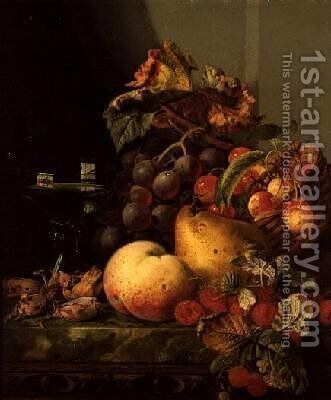 A Still Life of a Glass of Wine Cherries and other fruit on a Ledge by Edward Ladell - Reproduction Oil Painting