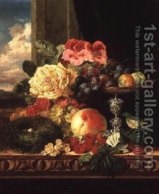 A Still Life of Fruit and Flowers by Edward Ladell - Reproduction Oil Painting