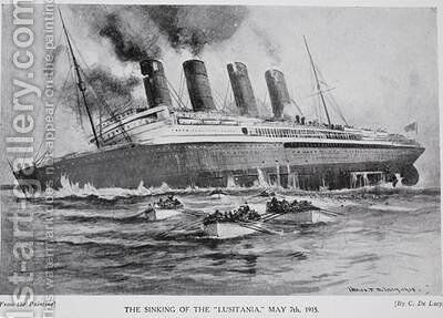 The Sinking of the Lusitania by Charles John de Lacy - Reproduction Oil Painting