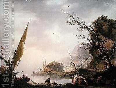 A southern coastal scene by Charles Francois Lacroix de Marseille - Reproduction Oil Painting
