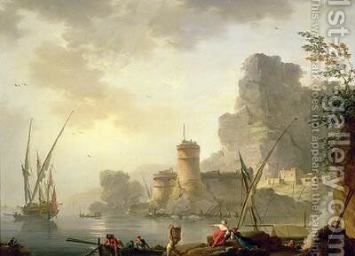 A Mediterranean Harbour Scene at Sunset by Charles Francois Lacroix de Marseille - Reproduction Oil Painting