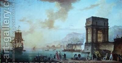 Morning a capriccio of a Mediterranean port by Charles Francois Lacroix de Marseille - Reproduction Oil Painting