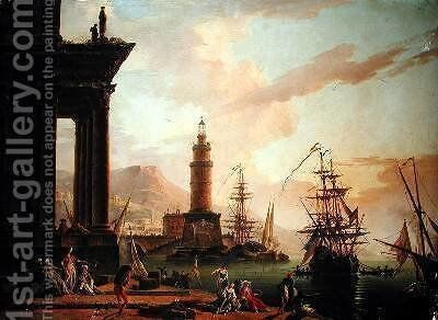 A Mediterranean Port Scene by Charles Francois Lacroix de Marseille - Reproduction Oil Painting
