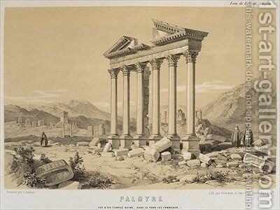 View of a ruined temple Palmyra Syria by (after) Laborde, Leon de - Reproduction Oil Painting