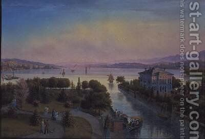 View of the Lake of Zurich with Villa Rosau by Emanuel Labhardt - Reproduction Oil Painting