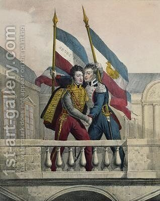 The Duke of Orleans embracing General La Fayette and raising the national colours on the terrace of the Palais Royal by (after) Labastide - Reproduction Oil Painting