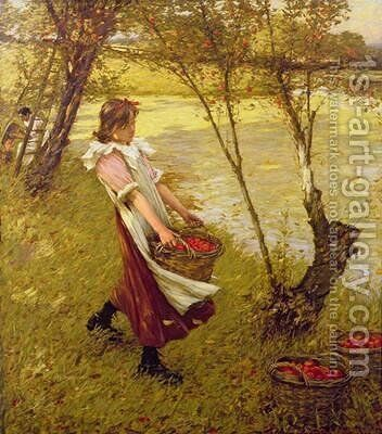 In the Orchard Haylands Graffham by Henry Herbert La Thangue - Reproduction Oil Painting