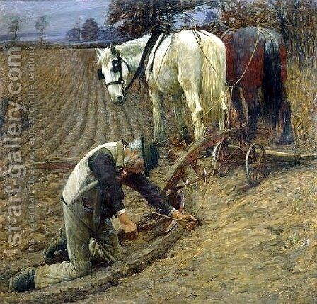 The Last Furrow by Henry Herbert La Thangue - Reproduction Oil Painting