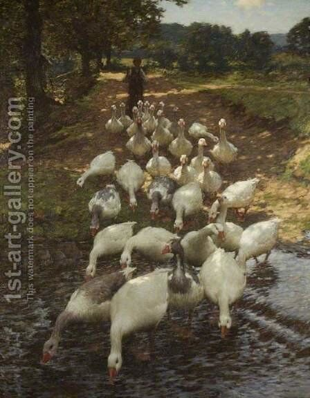 The Watersplash by Henry Herbert La Thangue - Reproduction Oil Painting