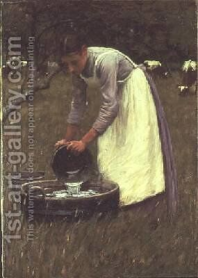 Watering the Cows 2 by Henry Herbert La Thangue - Reproduction Oil Painting