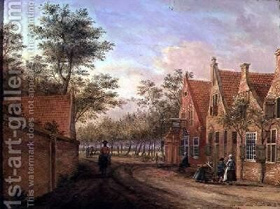 A Village with an Avenue of Trees by Jacob Elias La Fargue - Reproduction Oil Painting