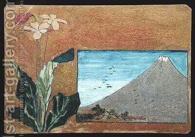 Fuji with Flowers by Christopher Grant La Farge - Reproduction Oil Painting