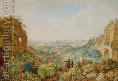 View of Rome from the Palace of the Caesars by Henri L'Eveque - Reproduction Oil Painting