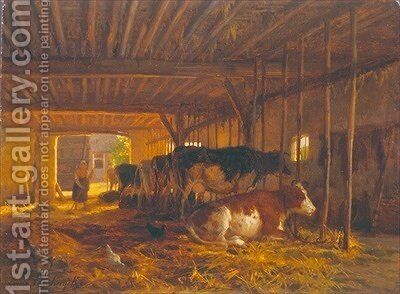 The Cow shed by Jean Louis van Kuyck - Reproduction Oil Painting