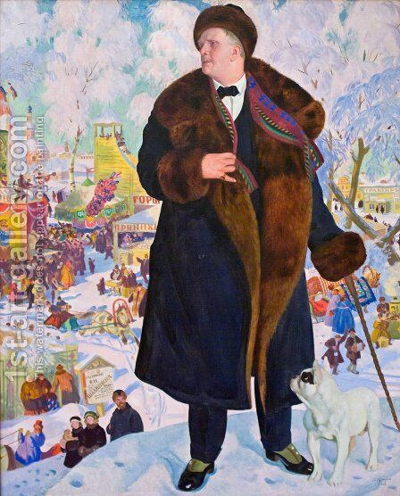 Portrait of Fyodor Chaliapin by Boris Kustodiev - Reproduction Oil Painting