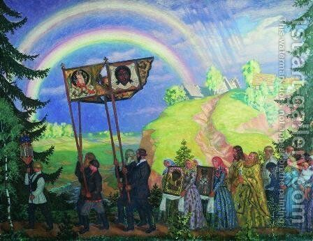Easter Procession by Boris Kustodiev - Reproduction Oil Painting