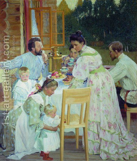 On the Terrace by Boris Kustodiev - Reproduction Oil Painting