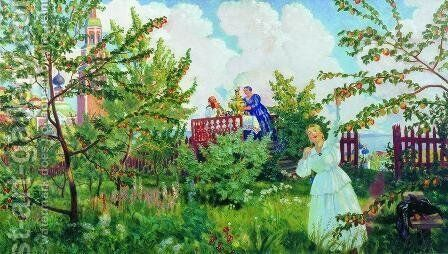 The Orchard by Boris Kustodiev - Reproduction Oil Painting