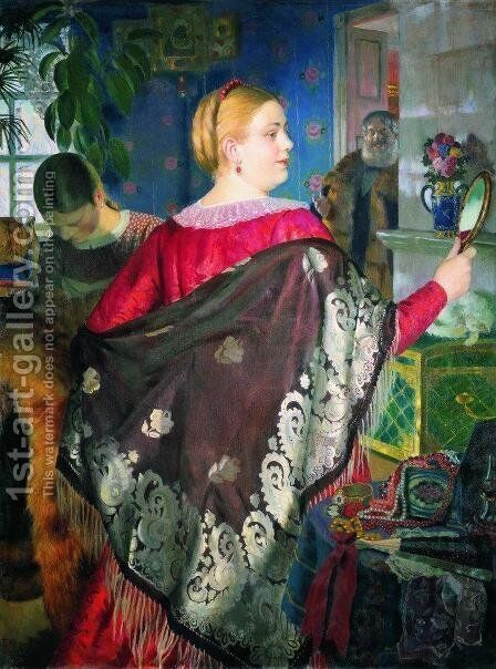 Merchants woman with a mirror by Boris Kustodiev - Reproduction Oil Painting