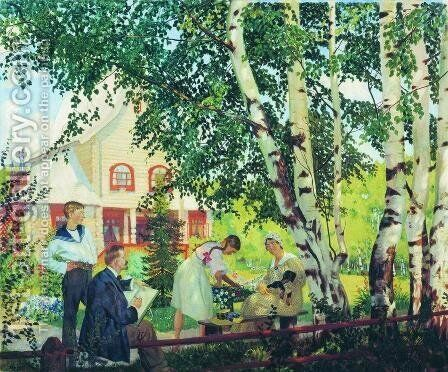 At Home by Boris Kustodiev - Reproduction Oil Painting