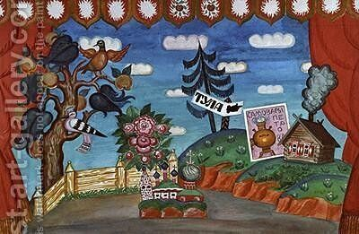 Stage design for The Flea by Boris Kustodiev - Reproduction Oil Painting