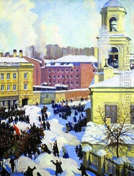 February 27 by Boris Kustodiev - Reproduction Oil Painting