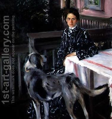 Portrait of Yulia Yevstafievna Kustodieva 1880-1942 the artists wife by Boris Kustodiev - Reproduction Oil Painting