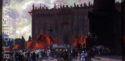 Study for the Celebration of the Opening of the Second Congress of the Comintern on Uritsky Square in Petrograd by Boris Kustodiev - Reproduction Oil Painting