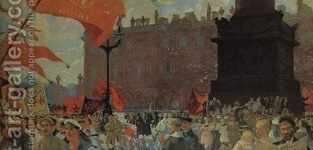 Festivities Marking the Opening of the Second Congress of the Comintern and Demonstration on Uritsky Palace Square in Petrograd by Boris Kustodiev - Reproduction Oil Painting