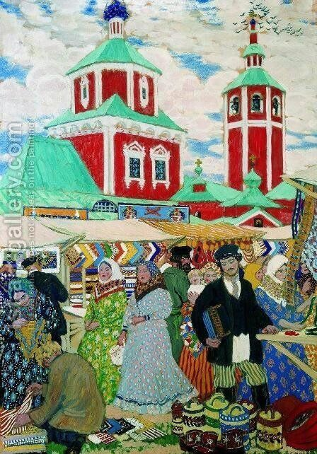 At The Fair by Boris Kustodiev - Reproduction Oil Painting