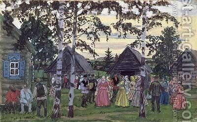 The Khorovod by Boris Kustodiev - Reproduction Oil Painting