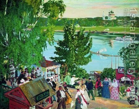 Public merrymaking on the Volga by Boris Kustodiev - Reproduction Oil Painting