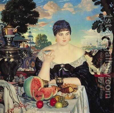 The Merchants Wife at Tea by Boris Kustodiev - Reproduction Oil Painting