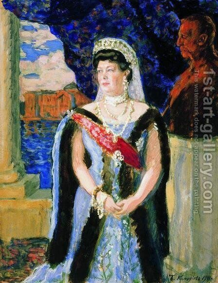 Portrait of the Grand Duchess Maria Pavlovna by Boris Kustodiev - Reproduction Oil Painting