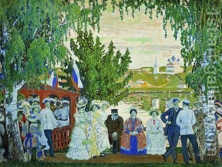 Festive Gathering by Boris Kustodiev - Reproduction Oil Painting