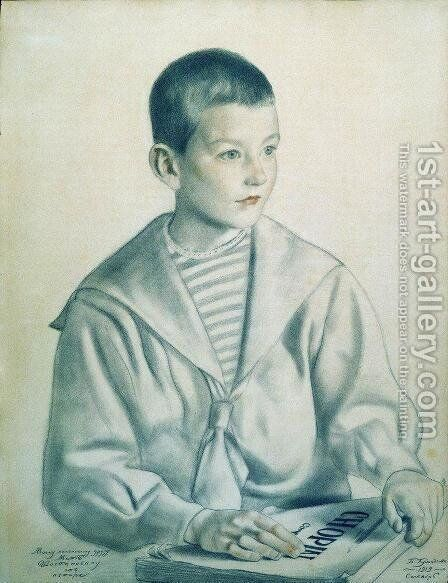 Portrait of Dmitri Dmitrievich Shostakovich 1906-75 as a Child by Boris Kustodiev - Reproduction Oil Painting