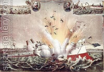 Destruction of the US Battleship Maine in Havana Harbor by and Allison Kurz - Reproduction Oil Painting