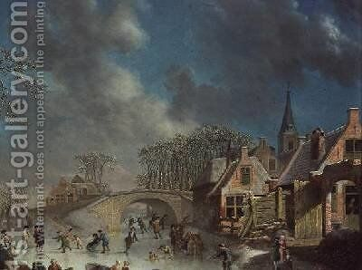 Winter Landscape with Skaters by C. Kuipers - Reproduction Oil Painting
