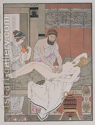 Examination of a patient by J. Kuhn-Regnier - Reproduction Oil Painting