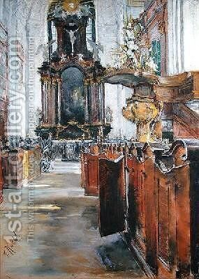 Interior of St. Michaelis in Hamburg by Gotthardt Kuehl - Reproduction Oil Painting