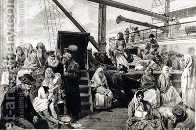 Steerage Passengers Emigrating to the United States of America from Germany by (after) Kuechler, Carl Hermann - Reproduction Oil Painting