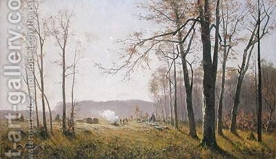 A Clearing in an Autumnal Wood by Max Kuchel - Reproduction Oil Painting