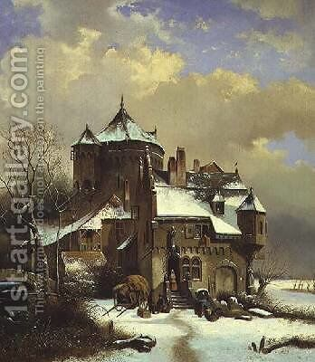 Dutch Winter Scene by Cornelis Kruseman - Reproduction Oil Painting