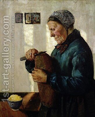 Woman cutting bread by Christian Krohg - Reproduction Oil Painting