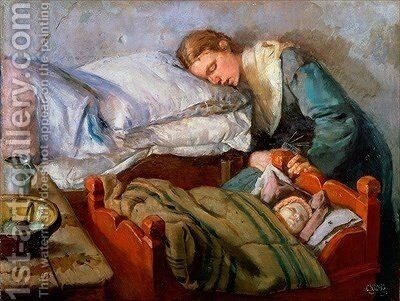 Sleeping Mother by Christian Krohg - Reproduction Oil Painting