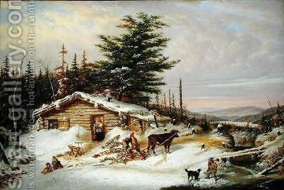 Settlers Log House by Cornelius Krieghoff - Reproduction Oil Painting