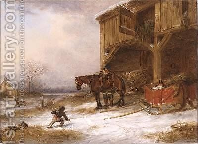 Hitching up by Cornelius Krieghoff - Reproduction Oil Painting