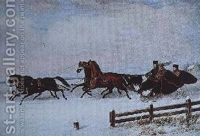 Winter Sleigh by Cornelius Krieghoff - Reproduction Oil Painting